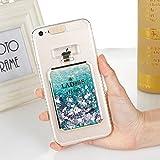 EINFFHO Coque iPhone 5/5S/SE, Luxe Bouteille de Parfum Brillant Flowing Quicksand Bling Briller Fluide Liquide Transparent Souple Silicone Housse Étui Coque pour iPhone 5/5S/SE avec Longe (Vert)