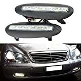 NSLUMO 12V LED Fog Lamp Cover DRL Daytime Running Light For BENZ S-Class W220 before facelift 1998-2001 6000K Xenon White (S class W220 before facelift 98-01)