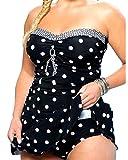 Retro Damen Badeanzug Halter Große Größen Zweiteilig Strand Bikini Set Vintage Tupfen Bademode Polka Dots Tankini Bikini+Hose Schwarz 4XL