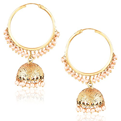 Meenaz Fashion Jewellery Traditional Gold plated Pearl Crystal Jhumki Jhumka Earrings for women party wear stylish designer Wedding Jewelry Set Ear ring studs for girls- jhumki earrings-202