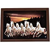 DMT™ Exclusive 7 Running Horses Painting (Synthetic Without Glass) Framed Wall Art Paintings Of Running Horses Painting Frame Size (18 Inch X 12 Inch)|vastu Painting For Home And Office||Seven Lucky Running Horses Painting || 7 Horses Painting || Se
