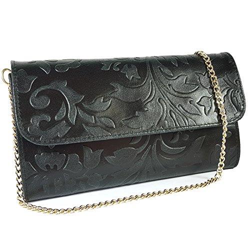 Freyday Echtleder Damen Clutch Tasche Abendtasche Muster Metallic 25x15cm (Schwarz Blumen) (Reißverschluss Leder Schwarz Italienisches Mit)