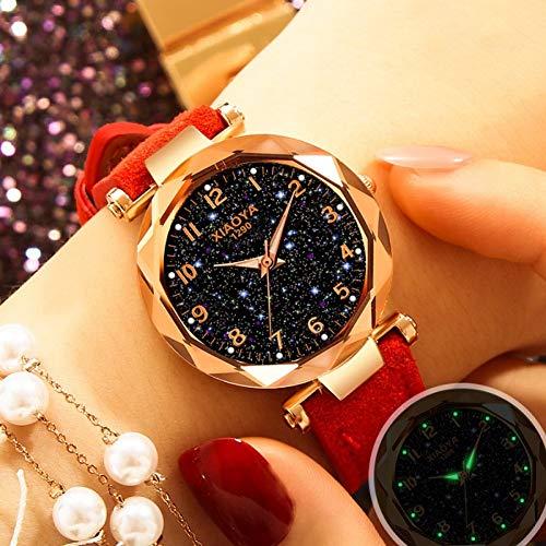 WLFPEG Art- undWeisefrauen-Uhr Stern-Himmel-Vorwahlknopf-Borduhr-Luxuxrosengold-Armband-Quarz-Armbanduhr neues freies Verschiffen