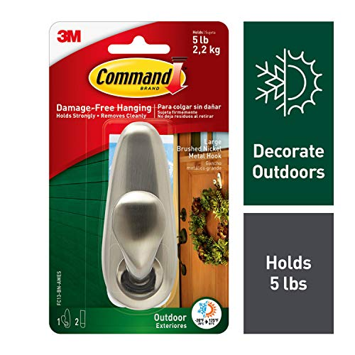 Command 1 Hook 2 Strips Outdoor Forever Classic Large Metal Hook by Command