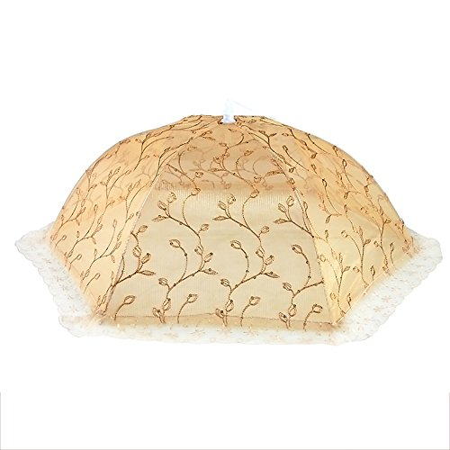 Cappa pieghevole alimentare, rotondo, rotondo, 360 gradi anti-mosche copertura pasto rotondo (Dimensione: 70 * 50CM, 75CM) ( Colore : Oro , dimensioni : 75cm )