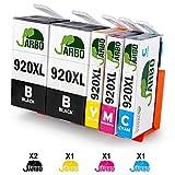 JARBO Ersetzt für HP 920XL 920 Druckerpatronen mit hoher Reichweite Kompatibel für HP Officejet 6500 6500A 6000 7000 7500 7500A (2 Schwarz, Blau, Rot, Gelb)