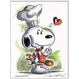 Original Feder und Aquarell auf Aquarellkarton: Peanuts Snoopy I love cooking! / 24x32 cm