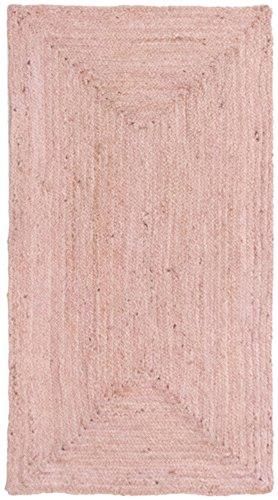 HAMID Alfombra Yute Alhambra Color Rosa- Alfombra 100% Fibra de Yute (Rosa, 80x150cm)