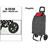 DonRegaloWeb - Carro de la compra plegable de 2 ruedas de metal y bolsa de textil decorado con lunares en color negro, blanco y rojo