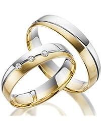 2 x 333 Trauringe Gold Bicolor Weißgold Eheringe Massiv Paarpreis LM.06.GG.WG