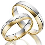 Juwelier Rubin 2 x 375 Trauringe Gold Bicolor Weißgold Eheringe Massiv Paarpreis LM.06.GG.WG