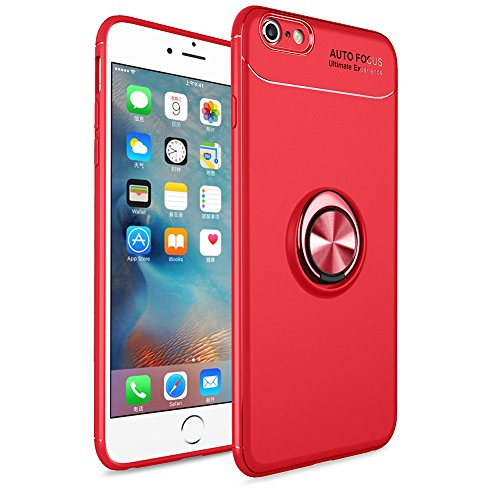 BtDuck iPhone 6S Plus Hülle mit Ring, Soft Ultra Slim Matt Dünn Silikon Hülle iPhone 6S Plus/6 Plus mit Metall Ring Handyhalterung Auto Magnet Ständer Smartphone Halter Ständer Ringhalter Hülle Rot