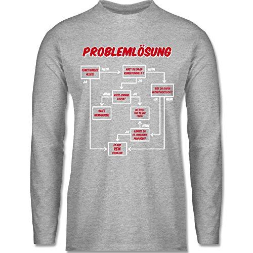 Shirtracer Sprüche - Problemlösung - Herren Langarmshirt Grau Meliert