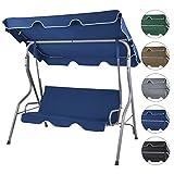 BB Sport 3-Sitzer Hollywoodschaukel mit abnehmbarem und neigbarem Sonnendach Gartenschaukel für 3 Personen Schutzhülle optional, Farbe:Nachtblau