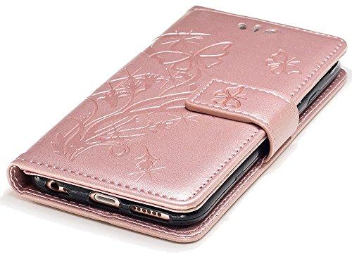 Iphone 6 Plus Case Cuir, Coque Iphone 6 Plus silicone, Iphone 6S Plus Accessoires, Coque Iphone 6S Plus silicone, Nnopbeclik® Mode Wallet/Portefeuille en Bonne Qualité PU Cuir Housse (5.5 Pouce) Papil roseor