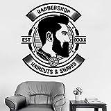 Ajcwhml Barbiere da Uomo Personalizzato per Anno Logo Adesivo Decalcomania Salone da Uomo Taglio di Capelli Barba Adesivo da Parete 56 cm x 64 cm