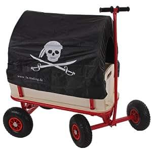bollerwagen handwagen leiterwagen oliveira mit sitz mit bremse dach pirat schwarz. Black Bedroom Furniture Sets. Home Design Ideas