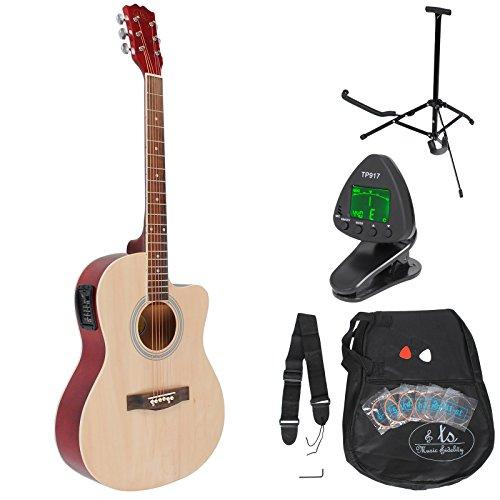 4/4 Elektro Akustik Gitarre Natur Westerngitarre mit 4 Band Pickup und Rosenholz Griffbrett mit Tasche, Stimmgerät, Gitarrenständer, Plektren und Ersatzsaiten