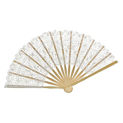 VON LILIENFELD Abanico boda nupcial mujer moda Carmen, blanco