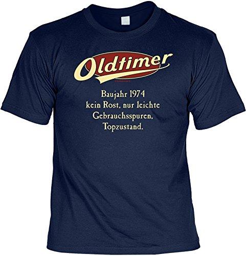 Jahrgangs-Spaß-Fun-Shirt-Set inkl. Mini-Shirt/Flaschendeko: Oldtimer Baujahr 1974 - geniales Geschenk Navyblau