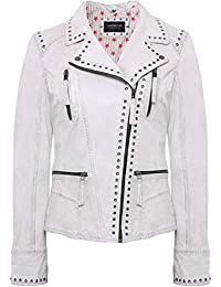 Oakwood Mujeres Washed Leather Camera Biker Jacket Blanco