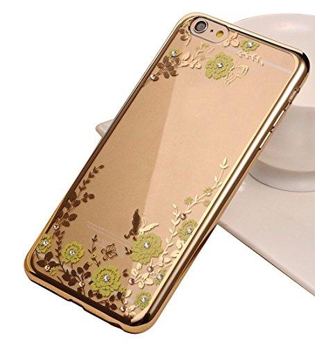 Coque Iphone 6S electroplating + Paillettes en TPU Bumper Fleurs aspect cristal 2016, Rose Gold(White Flowers), 138.1 x 67 x 6.9 mm Gold(Green Flowers)