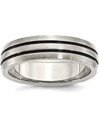 ICE CARATS Titanium Enameled Grooved 6mm Wedding Ring Band Fashion Jewelry Gift Set For Women Heart