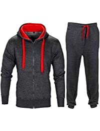 Kids Boys Girls Tracksuit CONTRAST Set Full Sleeve Fleece Zipper Hoodie Top  Bottoms Jogging Joggers Gym 6f379b7de8f