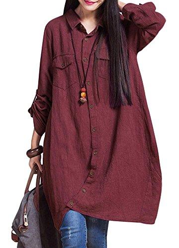 Romacci donne cotone lungo camicetta irregolare orlo buttons loose casual vintage top camicia vestito bianco/viola/blu scuro/nero/bordeaux burgundy s