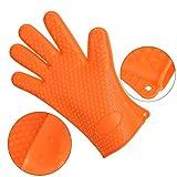 Olycism Ofenhandschuhe Silikon Anti-Rutsch Topflappen Hitzebeständige Handschuhe Grillhandschuhe Kochhandschuhe Backhandschuhe Geeignet für Kochen Backen Grillen 1 Paar