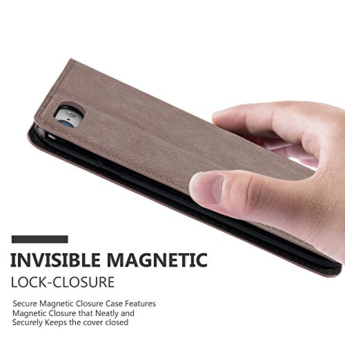 Cadorabo - Etui Housse pour Apple iPhone 7 avec Fermeture Magnétique Invisible (stand horizontale et fentes pour cartes) - Coque Case Cover Bumper Portefeuille en NOIR-NUIT MARRON-CAFÉ