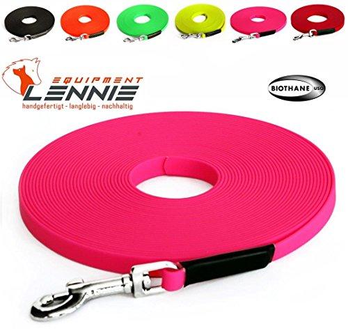 Extra leichte Schleppleine aus 16 mm Super Flex BioThane® / 1-30 Meter [10 m] / 6 Farben [Neon-Pink] / genäht / ohne Handschlaufe
