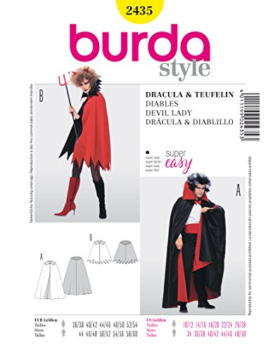 Burda 2435 Schnittmuster Kostüm Fasching Karneval Cape (Damen & Herren, Gr. 36 - 60) Level 1 super easy
