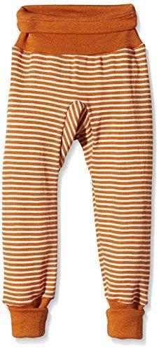 Cosilana Baby Hose lang mit Bund, Größe 86/92, Farbe Orange geringelt, 70 % Merinoschurwolle, 30 % Seide