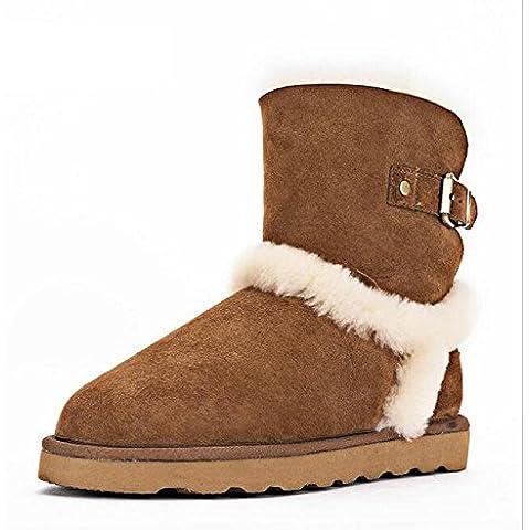 scarponi da neve antiscivolo in pelle scamosciata