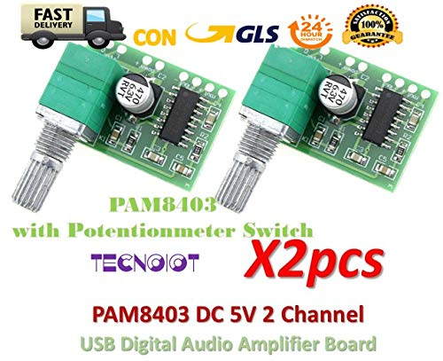 2pcs PAM8403 5V 2 Channel Digital Audio Amplifier with Potentionmeter Switch Super Audio Converter