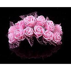 Lucky Will 144 Stück Klein Künstliche Rosen Blumen Kunstblumen Blumensträuße Hochzeits Deko rosa