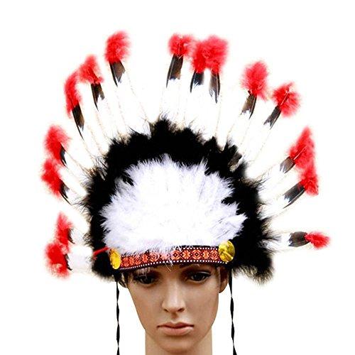niceEshop(TM) Indische Federn Kopfschmuck Native American Chief Head Kleid für Erwachsene und Kinder Halloween Kostüme Party, Bunte 23x14inch