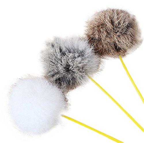 Cdet Haustier Katze Spielzeug Kaninchen-Haar Haarball Tease Stöcke Haustierkatze Spielzeug Necken Katze Ruten Feder Katze Federspielzeug Stab Angeseilt Haustier Spielzeug (Haarball)