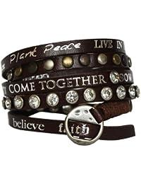 Good Works Bracelet en cuir avec rivets et pierres strass Marron
