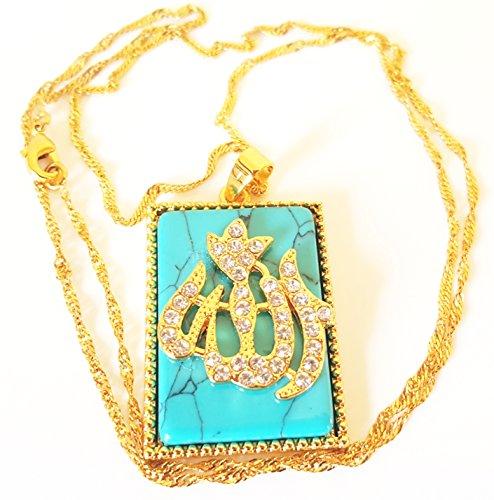 Schutz Türkis Allah Muslim Anhänger Halskette Heiligen Koran Verse Sura Arabisch 18K echt vergoldet Faux Diamanten