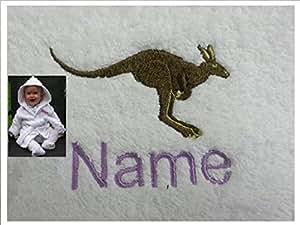 Peignoir de bain pour bébé kangourou avec JOEY le nom et le Logo de votre Particulier 0-9 mois, 450 g/m²