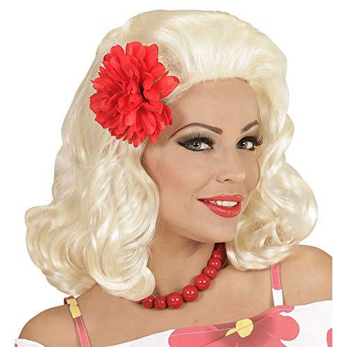 Widmann 01847 - Perücke Rockabilly Pin Up Girl schwarz mit roter Rose -