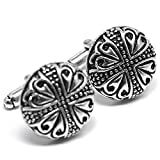 MESE London Viking's Men Cufflinks Silver Tribal Buttons - Elegant Gift Box