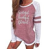 Xinan Sweatshirt Hoodie Top Damen Hemd Langarm T-Shirt Lange Ärmel Pullover Bluse (M, Rosa-Thankful)