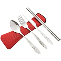 4 piezas de acero inoxidable (cuchillo, tenedor, cuchara, palillos), cubiertos