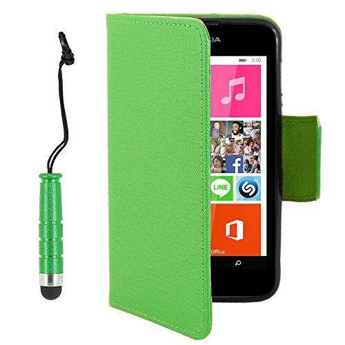 ebestStar - Nokia Lumia 530 Hülle Kunstleder Wallet Case Handyhülle [PU Leder], Kartenfächern, Standfunktion + Mini Stift, Grün [Lumia 530: 119.7 x 62.3 x 11.7mm, 4.0'']