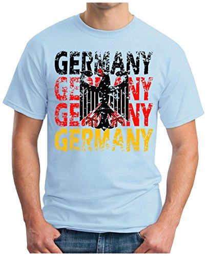 OM3® - Germany - T-Shirt Deutschland Fussball World Cup Soccer Fanshirt Sport Trikot, 4XL, Hellblau