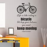wandaufkleber 3d schlafzimmer Motivational Saying - Life is like riding a bicycle. To keep your balance you must keep moving.- Vinyl Graphic Wall Sticker Decal (navy blue, 22