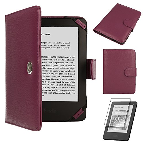 Purple Kindle Leather Case / Cover With Magnetic Clasp for NEW Amazon Kindle / 6 inch / 2011 generation / Book Style - Hi-TEC - Eink-cover Kindle
